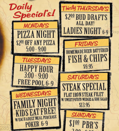 Crossroads Pub & Grill Daily Specials